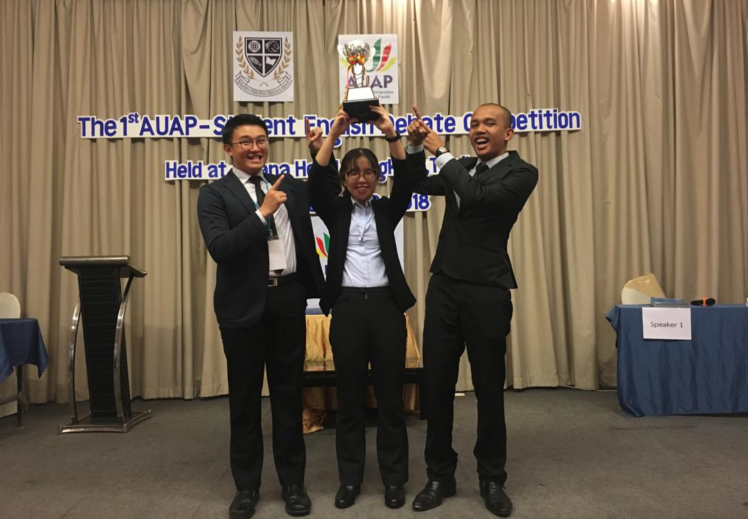 1st Runner-Up for the 1st AUAP STUDENTS ENGLISH DEBATING COMPETITION in Bangkok, Thailand