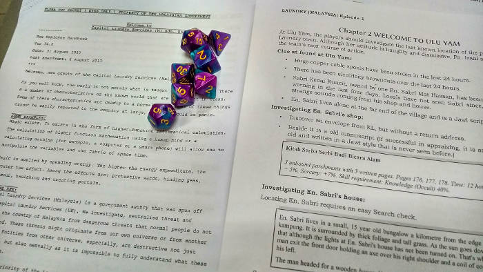 Session notes and dice